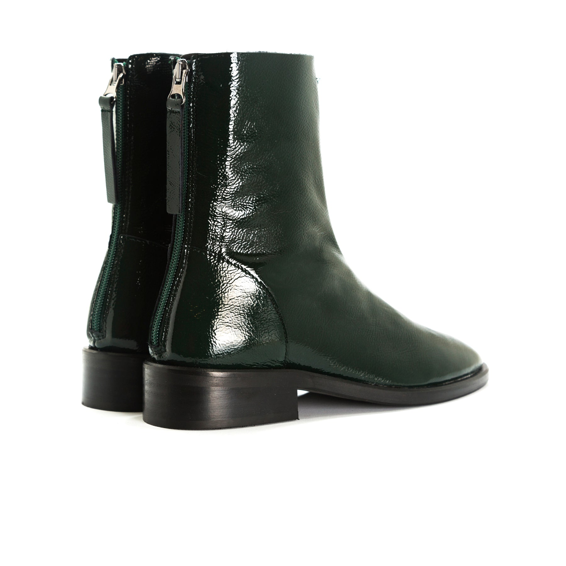 Dalton Green Naplack Ankle Boots