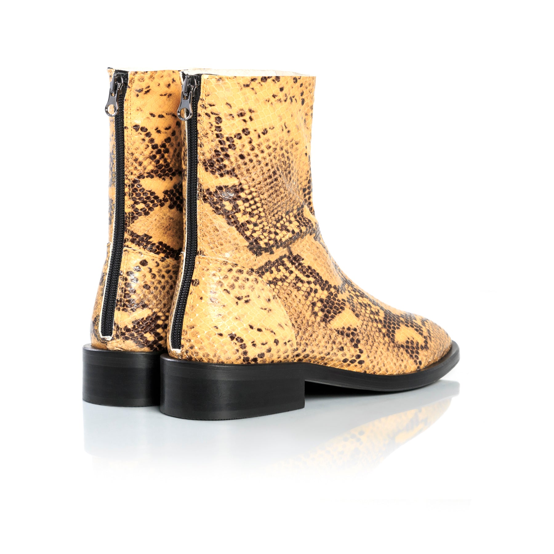 Dalton Mustard Snake Ankle Boots