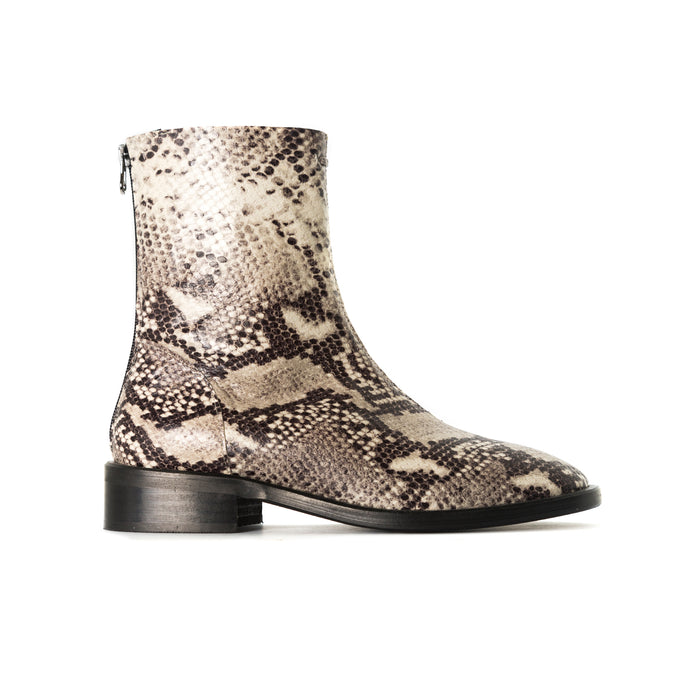 Dalton Nude Snake Ankle Boots