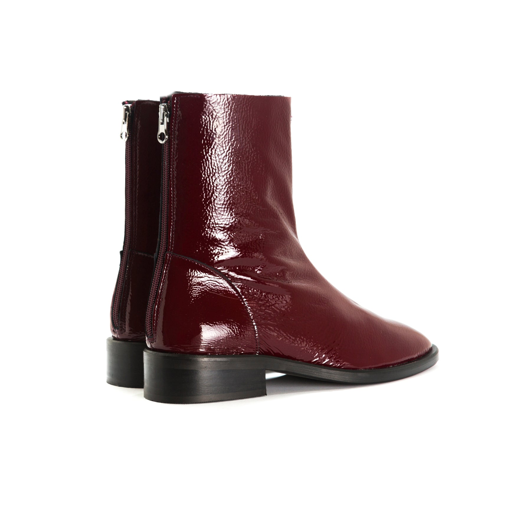 Dalton Red Naplack Ankle Boots