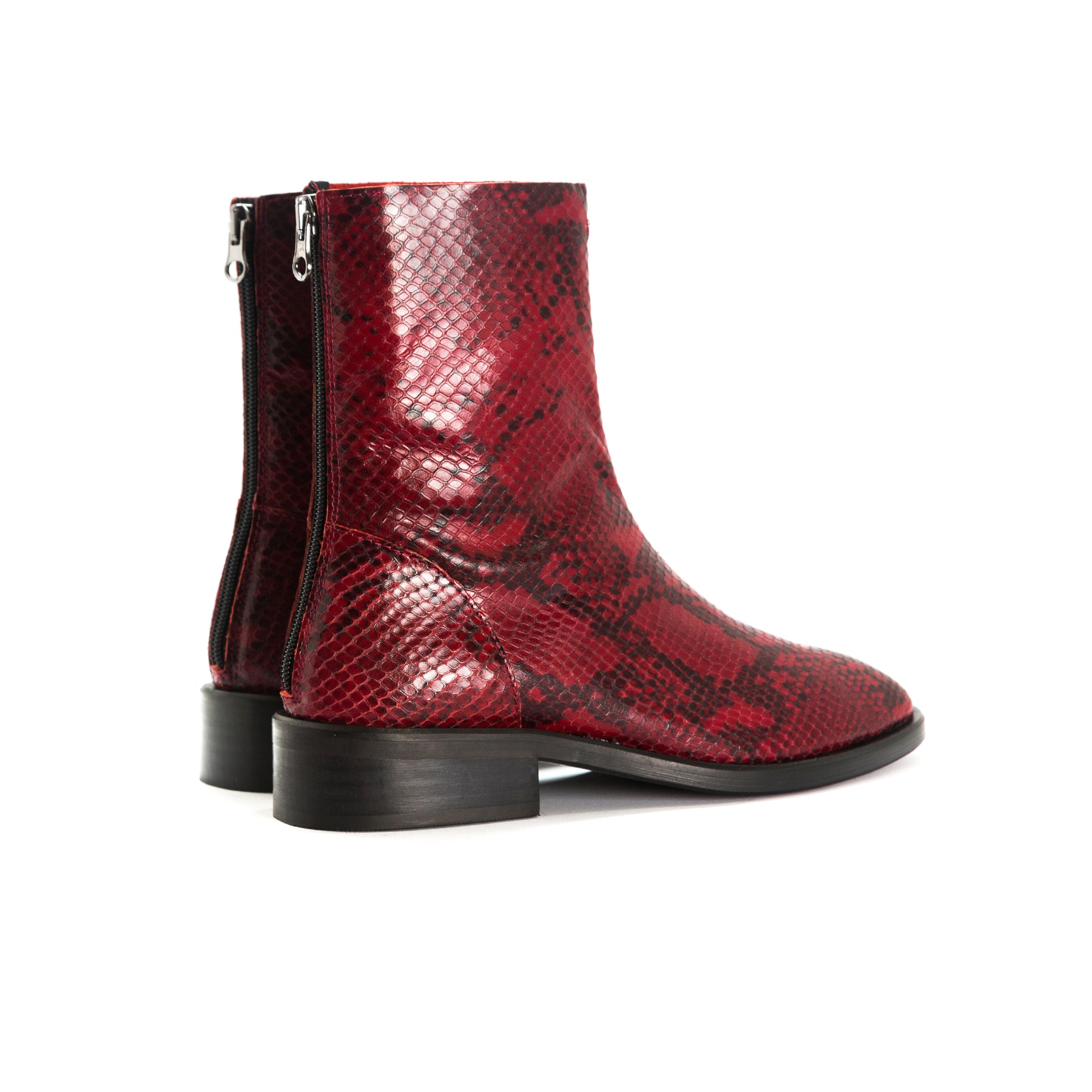 Dalton Red Snake Ankle Boots