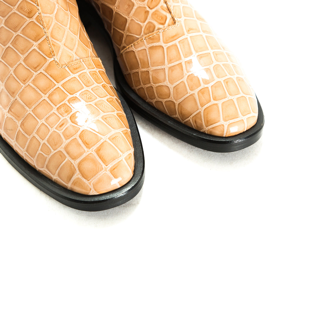 Load image into Gallery viewer, Dalton Tan Croco Ankle Boots