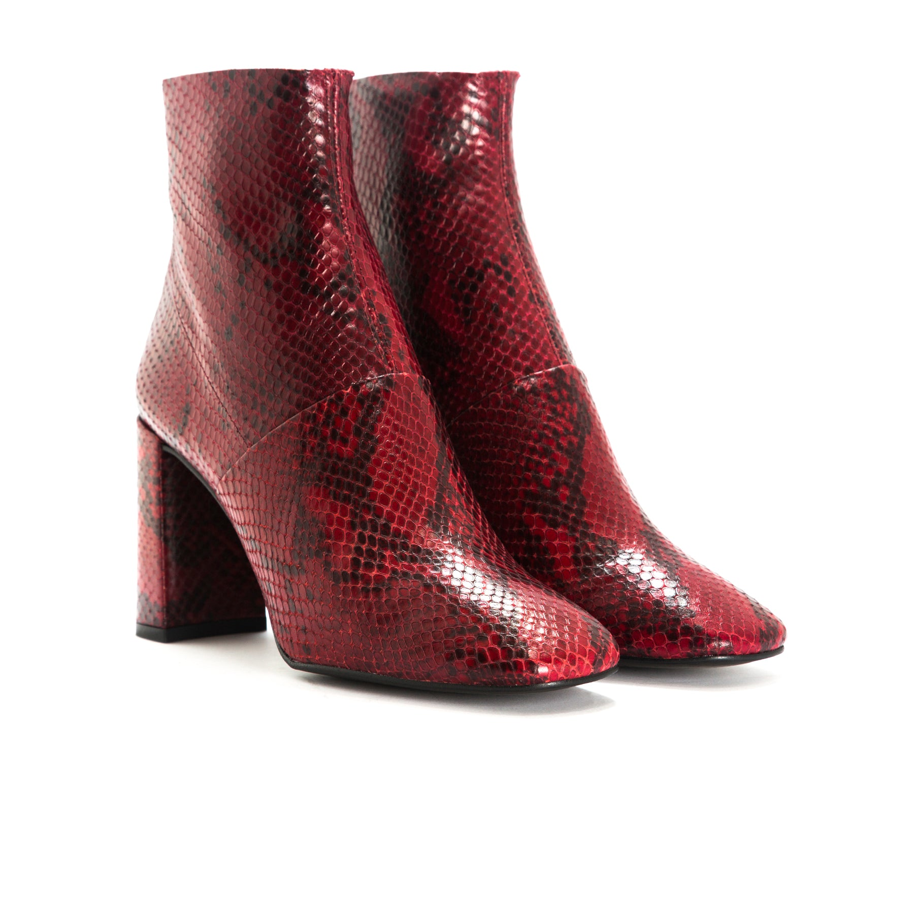 Devika Red Snake Ankle Boots