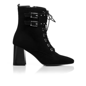 Load image into Gallery viewer, Elizabeth Black Suede Ankle Boots