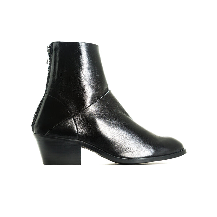 Elpaso Black Leather Ankle Boots