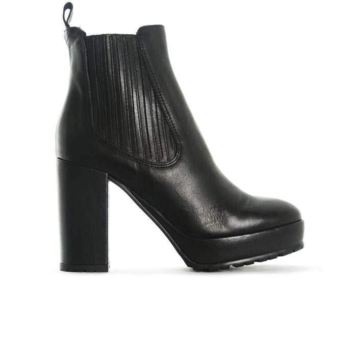 Felicity Black Leather Booties