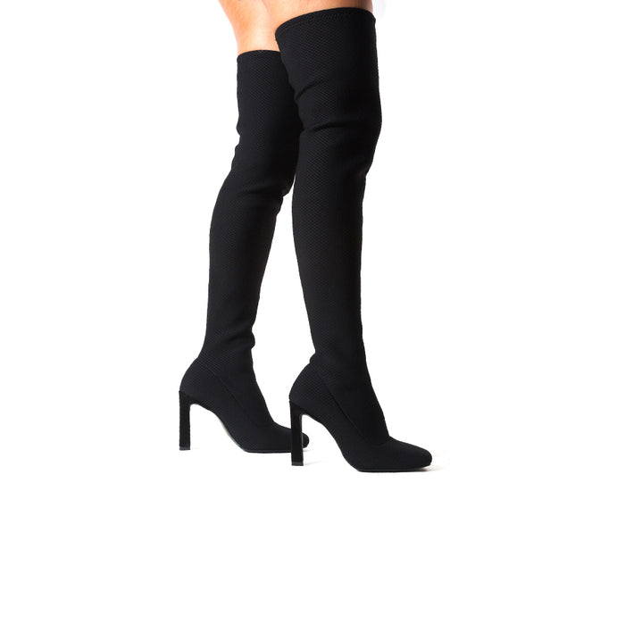 Galini Black Stretch Mesh Boots