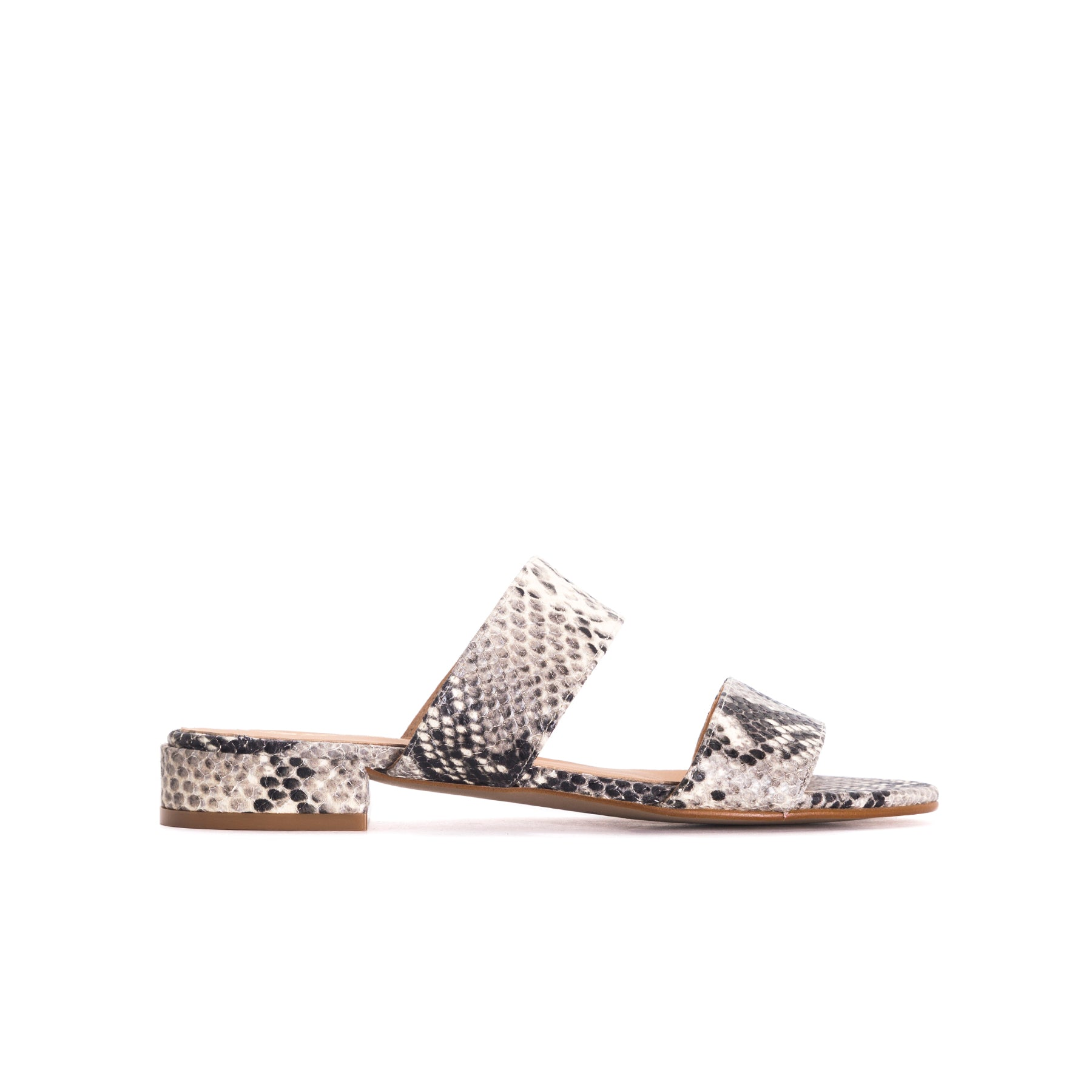 Gigi Black&White Snake Leather Sandals