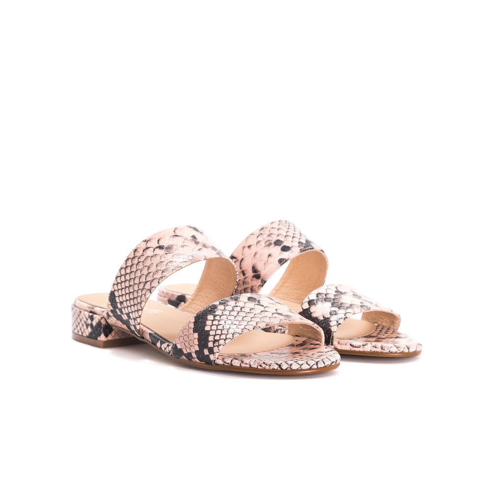 Gigi Pink Snake Leather Sandals