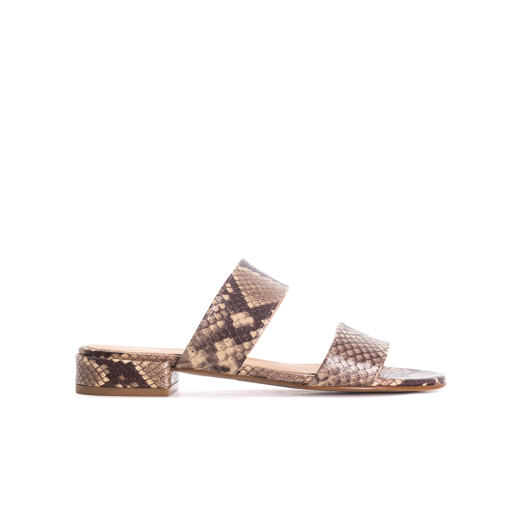 Gigi Taupe Snake Leather Sandals