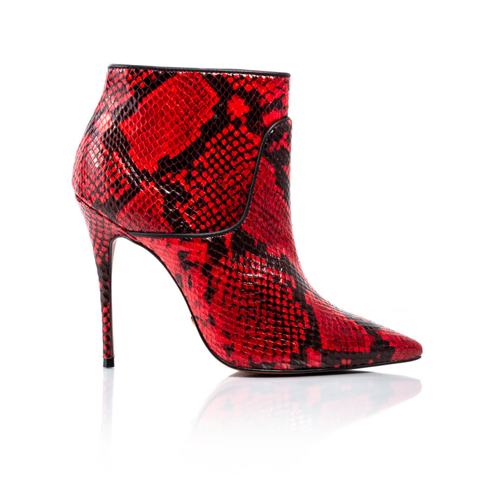 Glamour Red Snake Ankle Boots