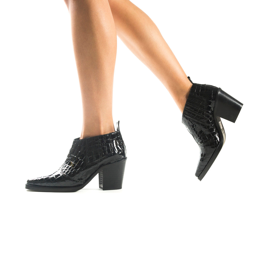 Grace Black Croco Ankle Boots