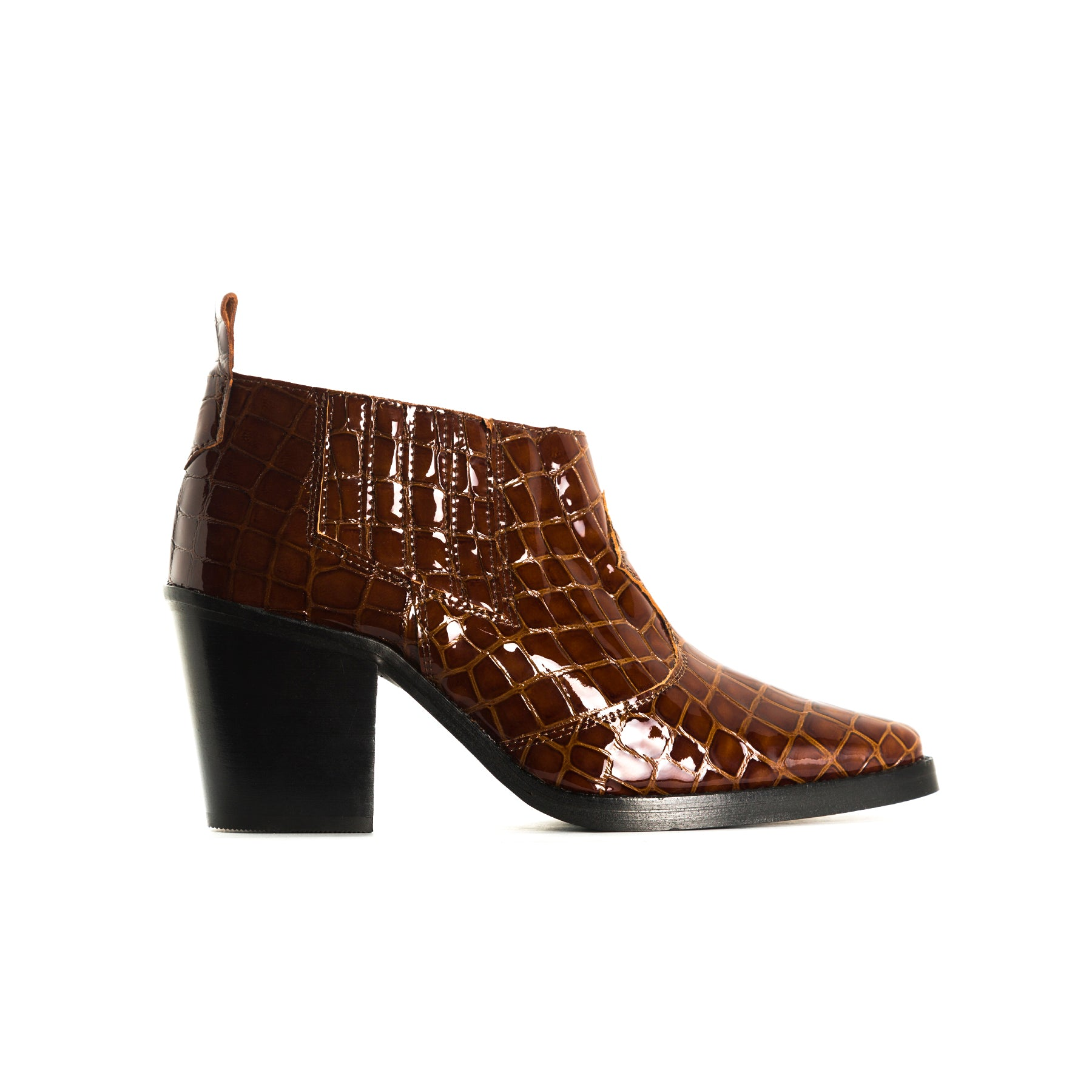 Grace Brown Croco Ankle Boots