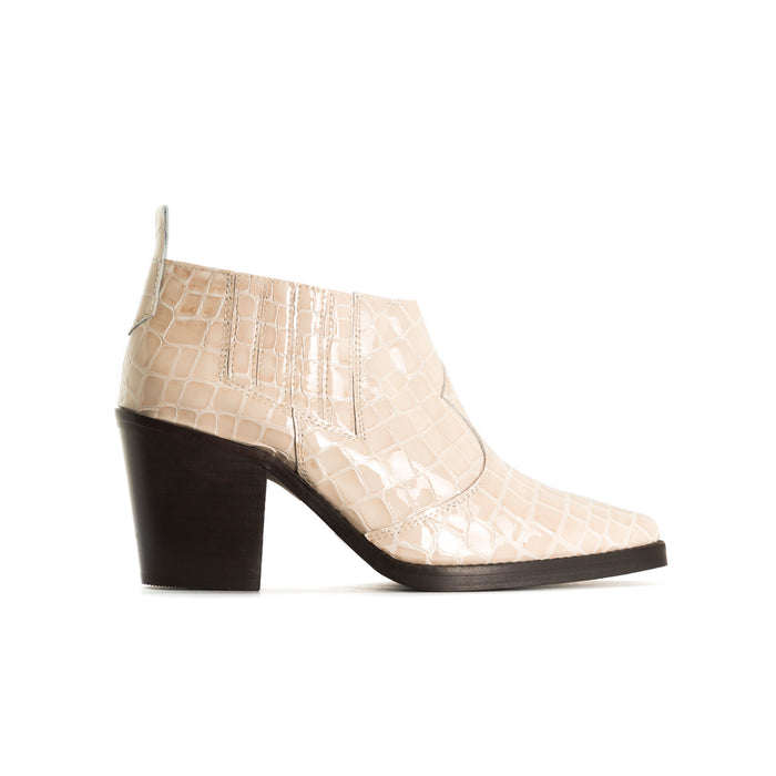 Grace Nude Croco Ankle Boots