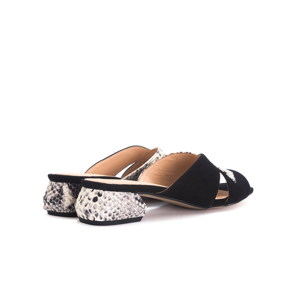 Load image into Gallery viewer, Gracie Black Snake&Suede Sandals
