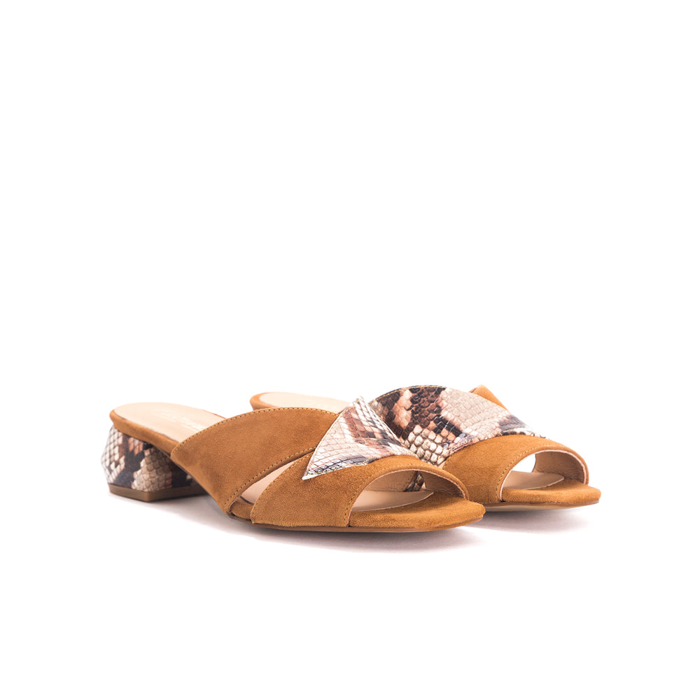 Gracie Tan Snake&Suede Sandals