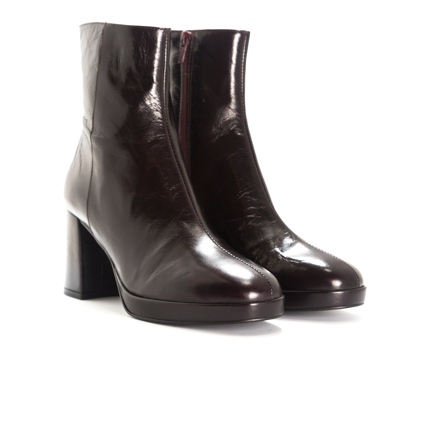 Henessey Bordo Leather Ankle Boots