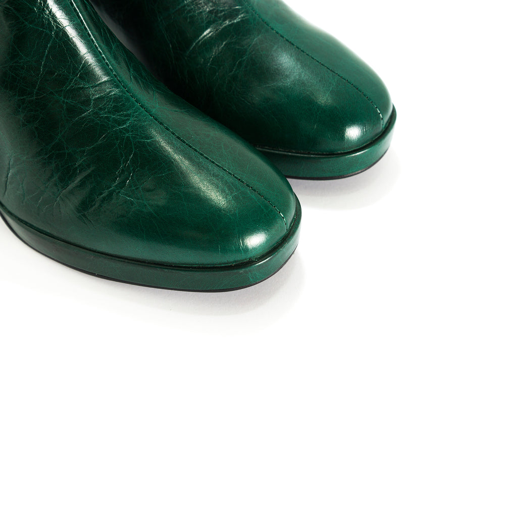 Henessey Green Leather Ankle Boots