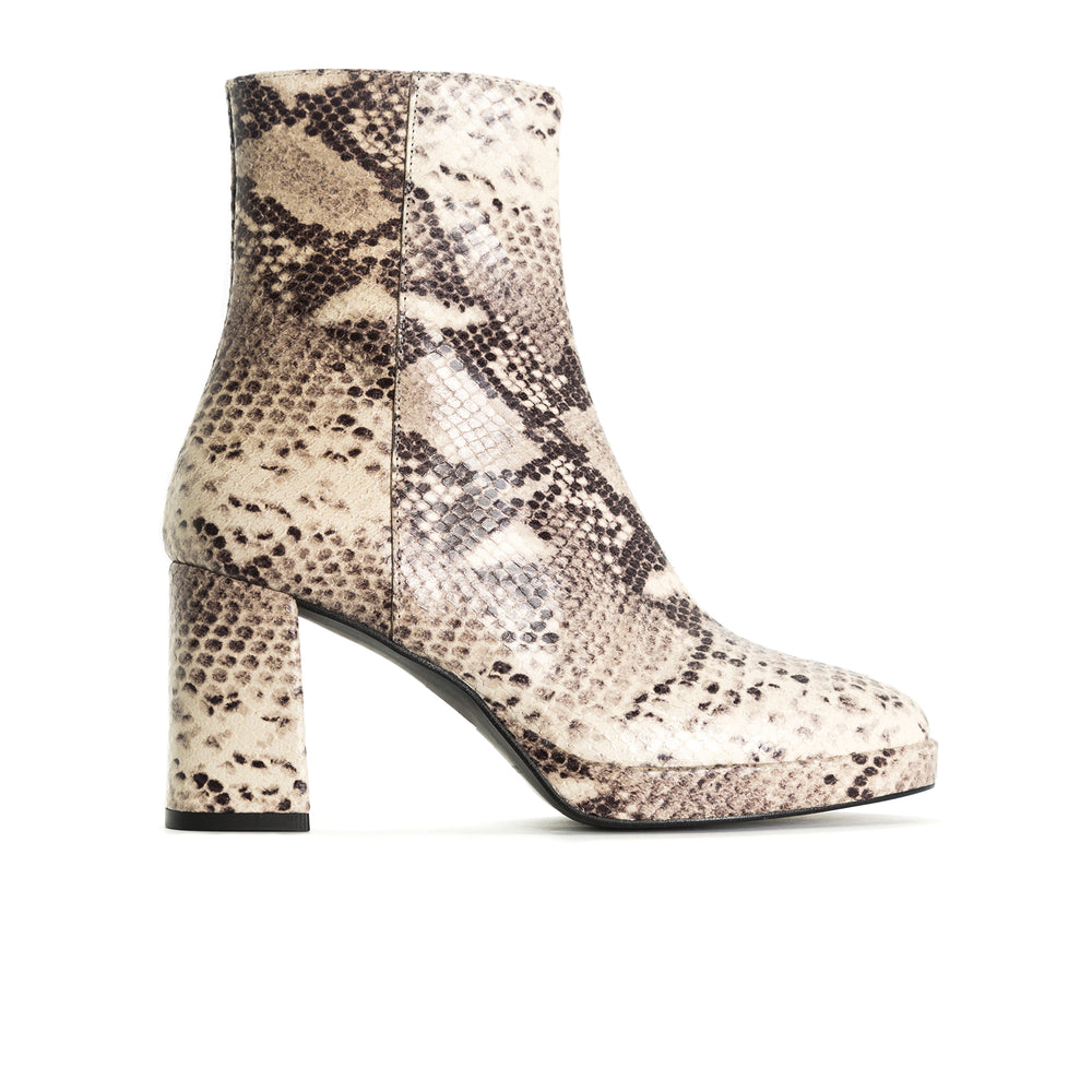 Load image into Gallery viewer, Henessey Nude Snake Ankle Boots
