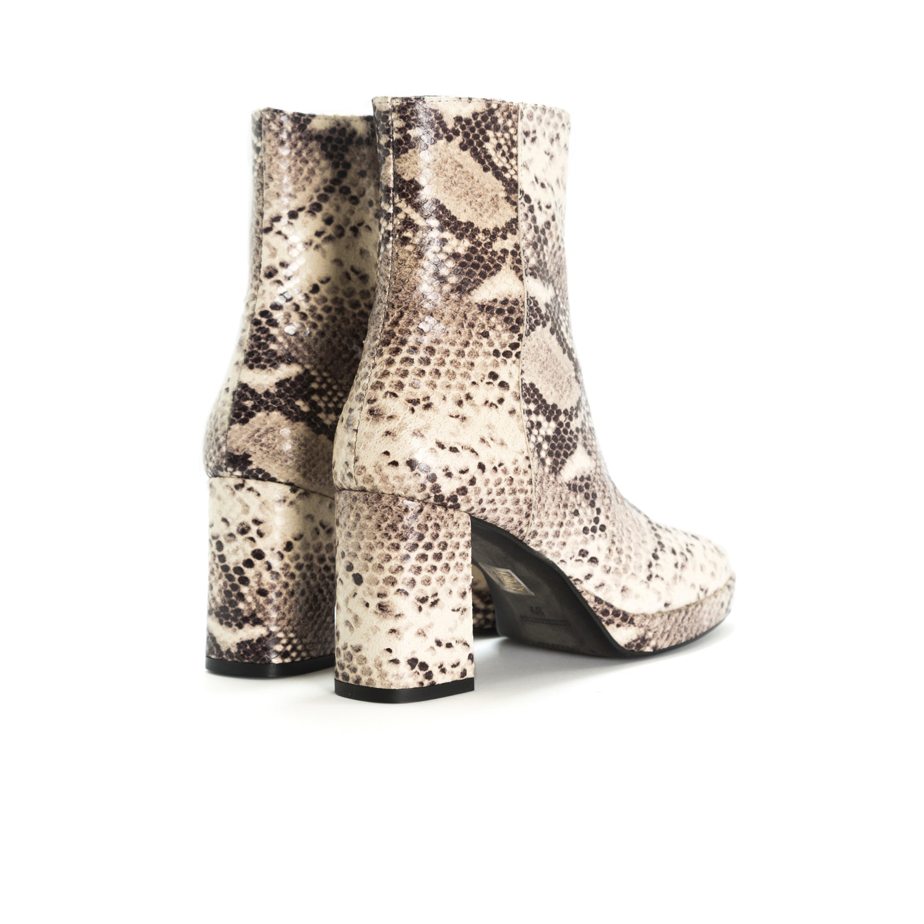 Henessey Nude Snake Ankle Boots