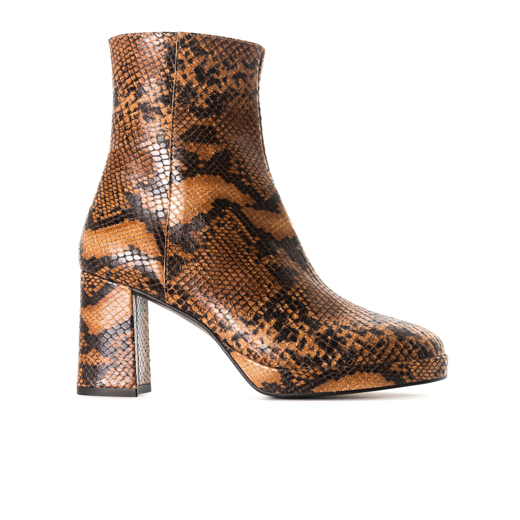 Henessey Tan Snake Ankle Boots