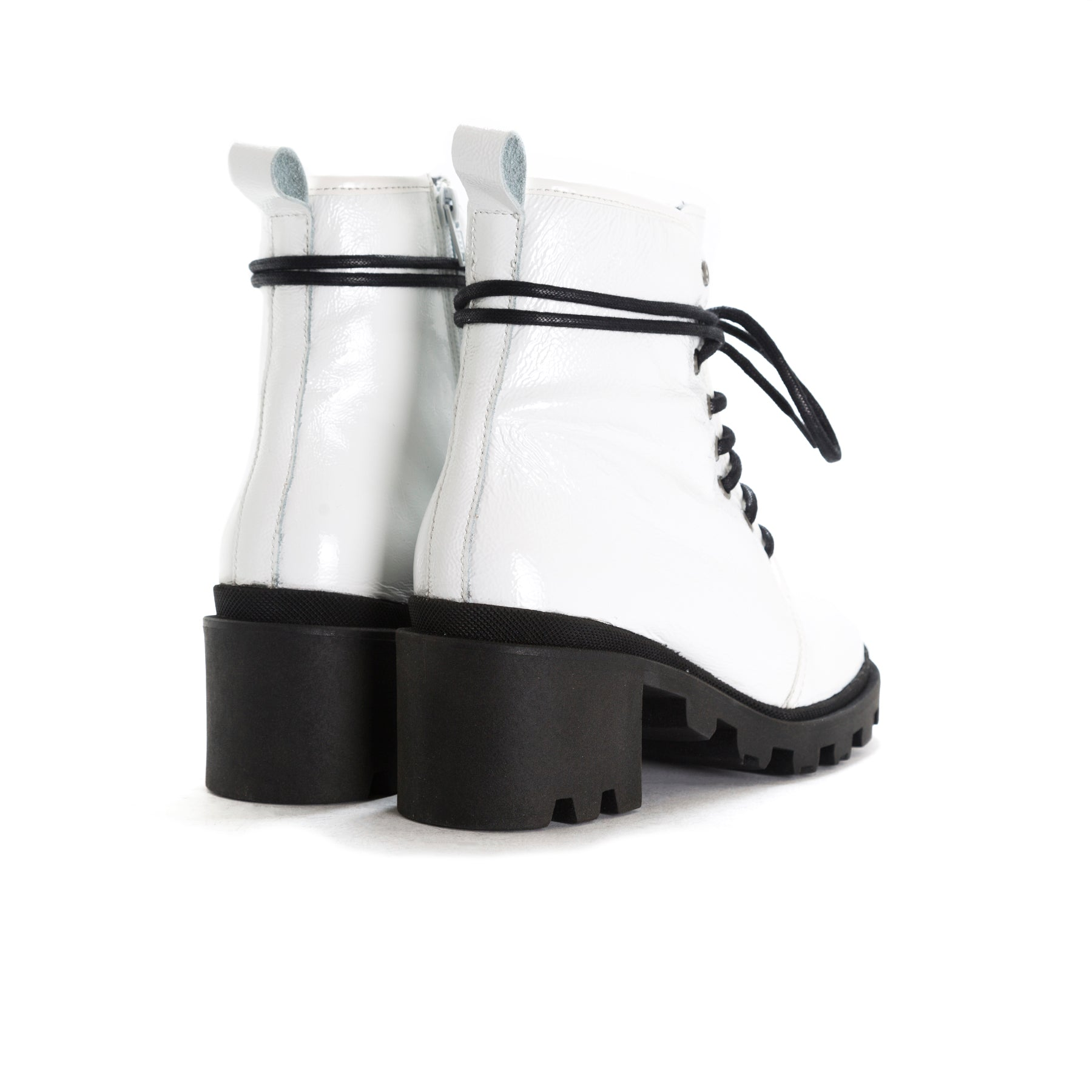 Holo White Naplack Ankle Boots