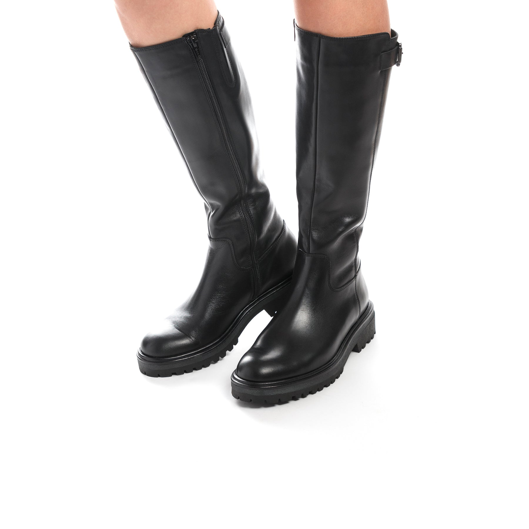 Hoof Black Leather Boots