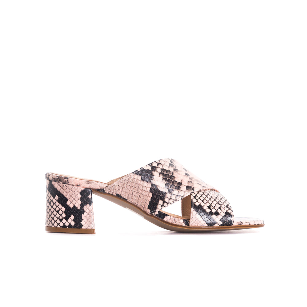 Iba Pink Snake Leather Sandals