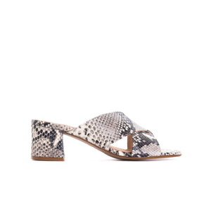 Iba Black&White Snake Leather Sandals