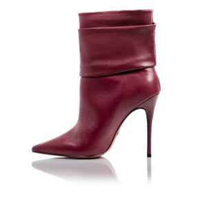 Iggy Plum Leather Ankle-Boots