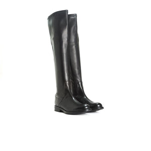 Janet Black Leather/Stretch Boots