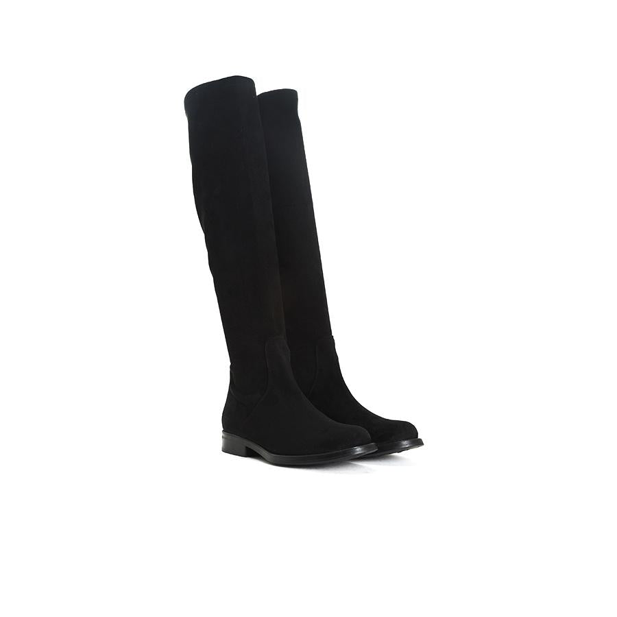 Load image into Gallery viewer, Janet Black Suede/Stretch Boots