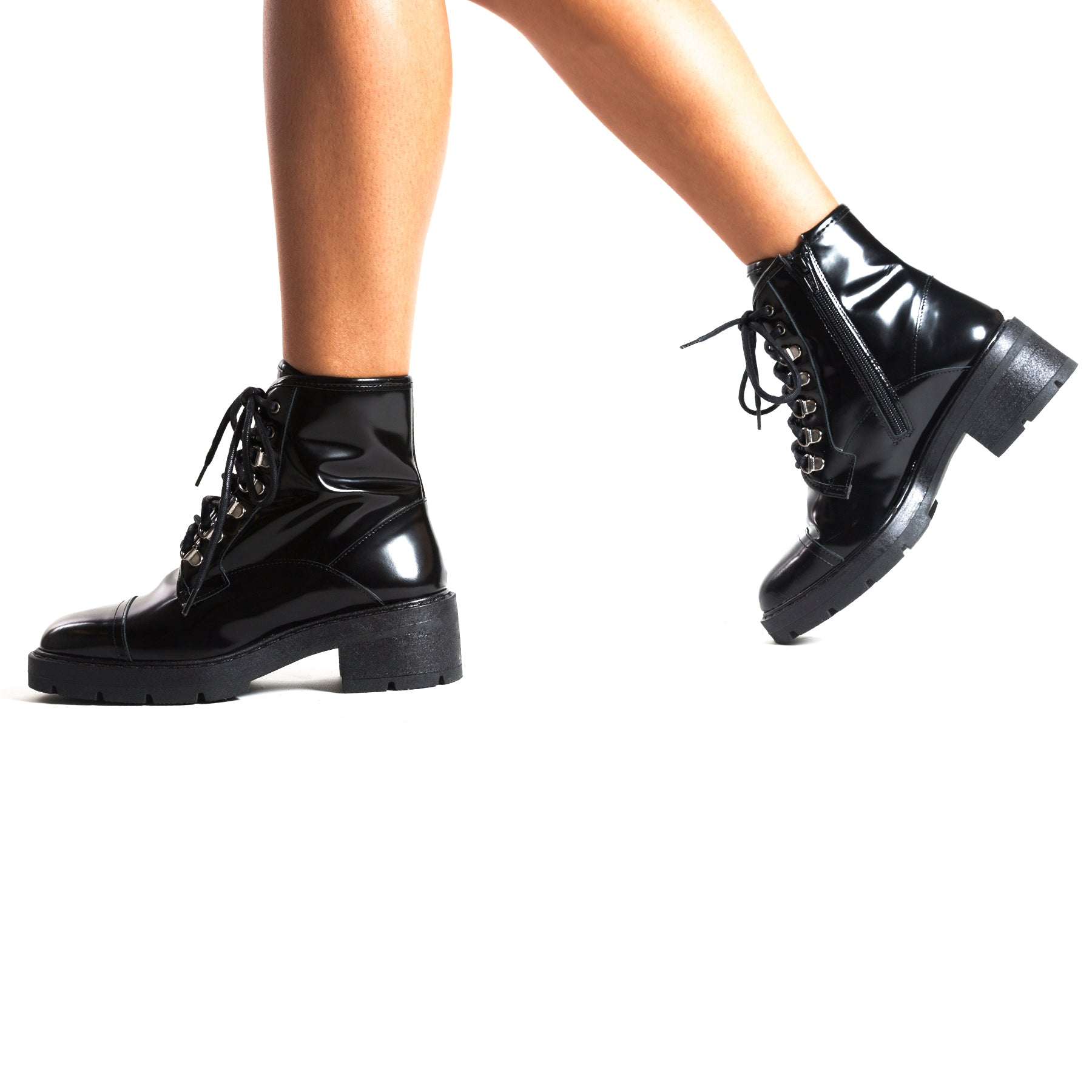 Jarna Black Leather Ankle Boots