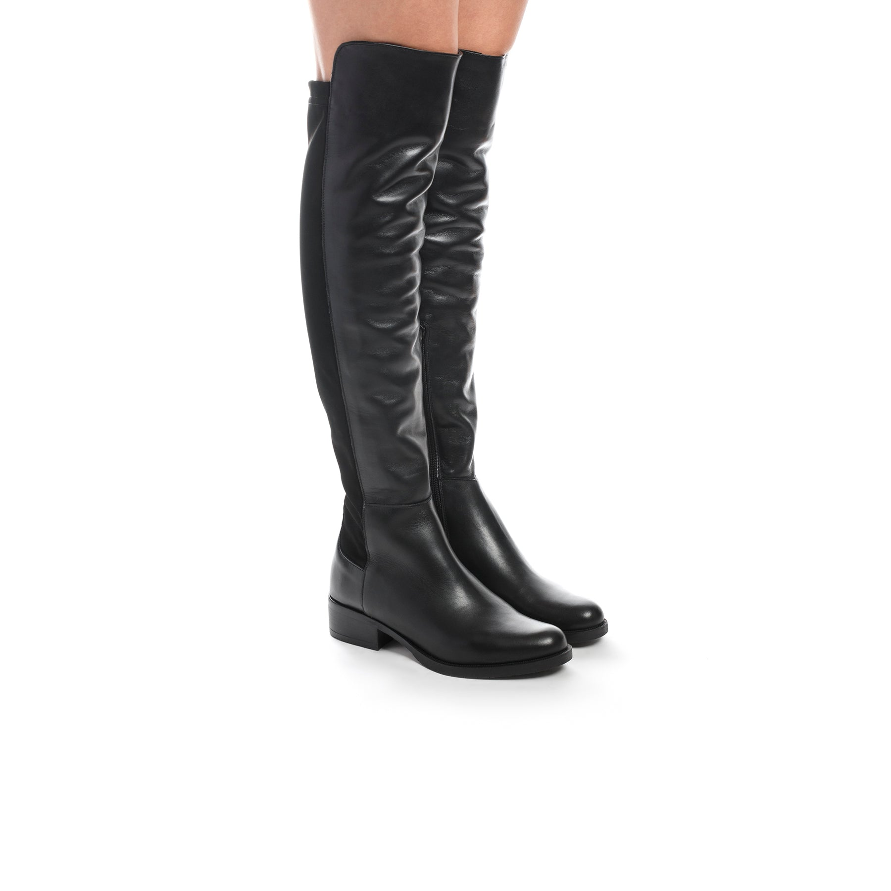 Jockey Black Leather/Stretch Boots