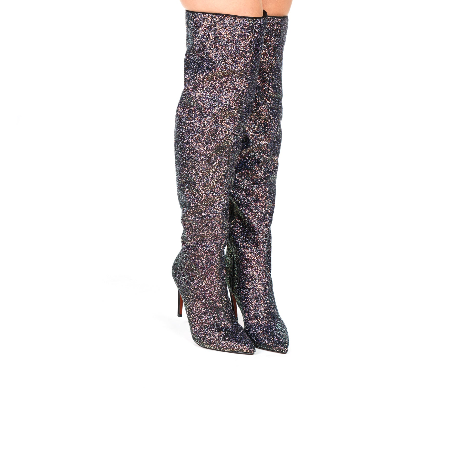 Jojo Black/Purple Glitter Boots