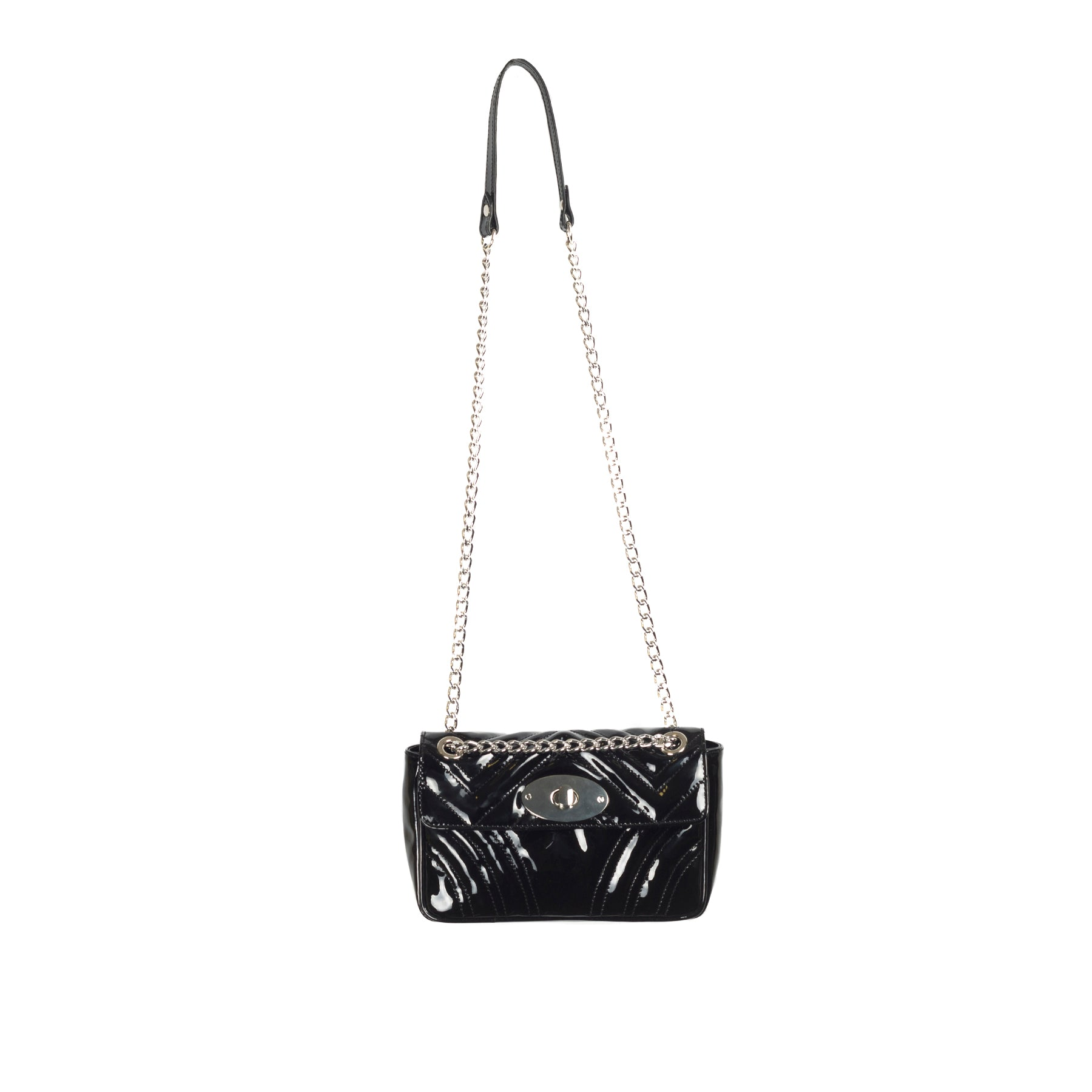 Juliet Black Patent Shoulder Bags