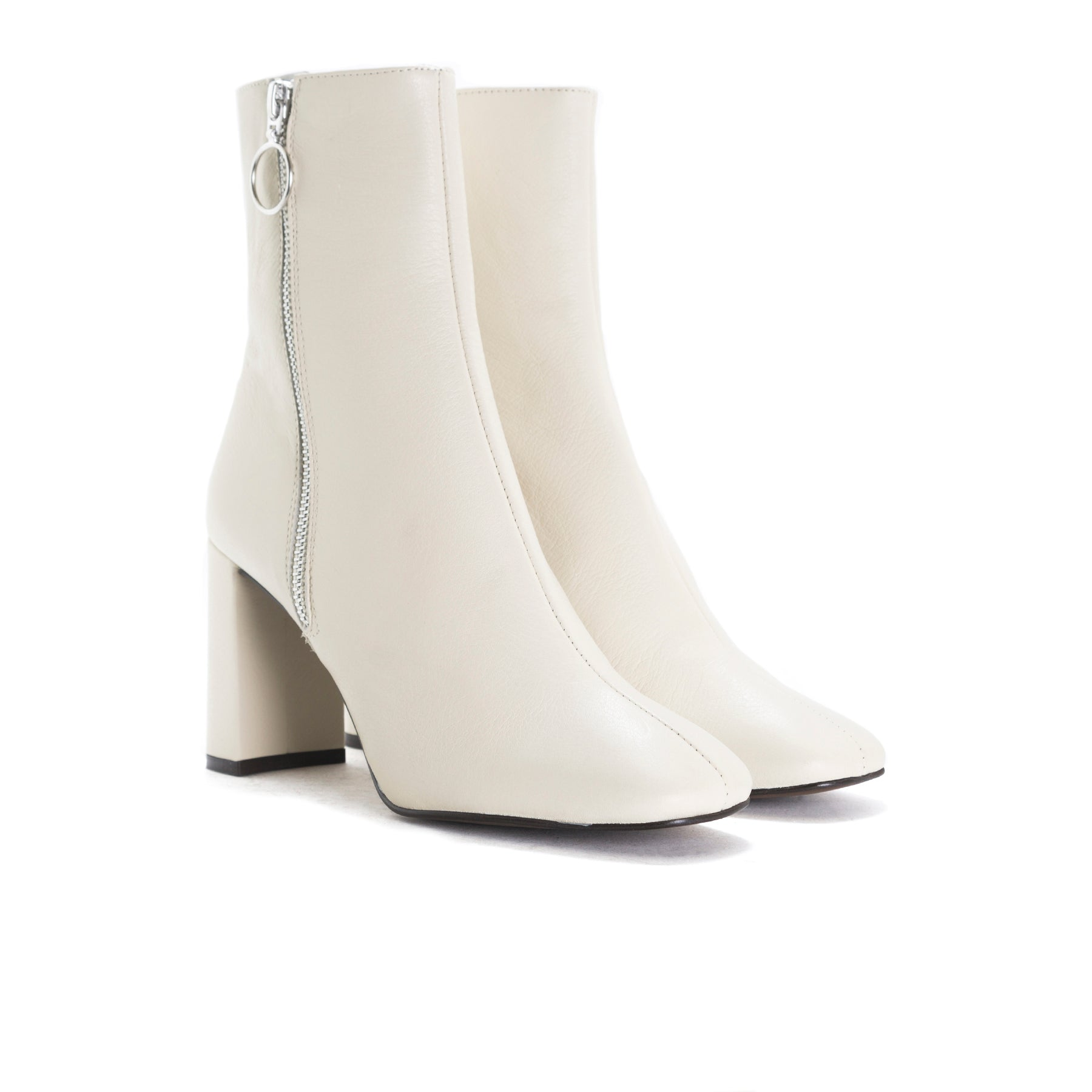 Kastoria Off White Leather Ankle Boots
