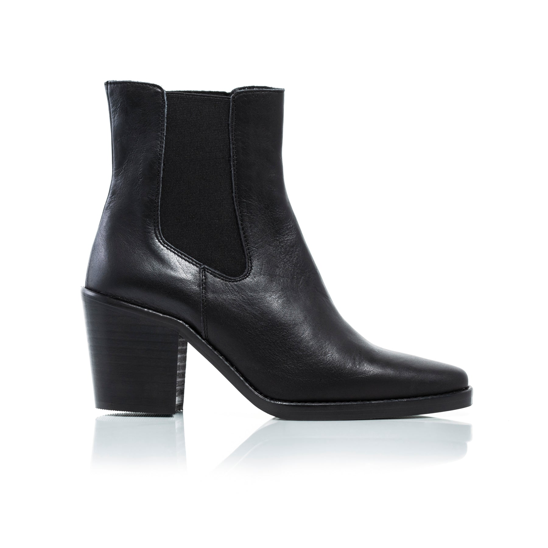 Kentucky Black Leather Ankle Boots