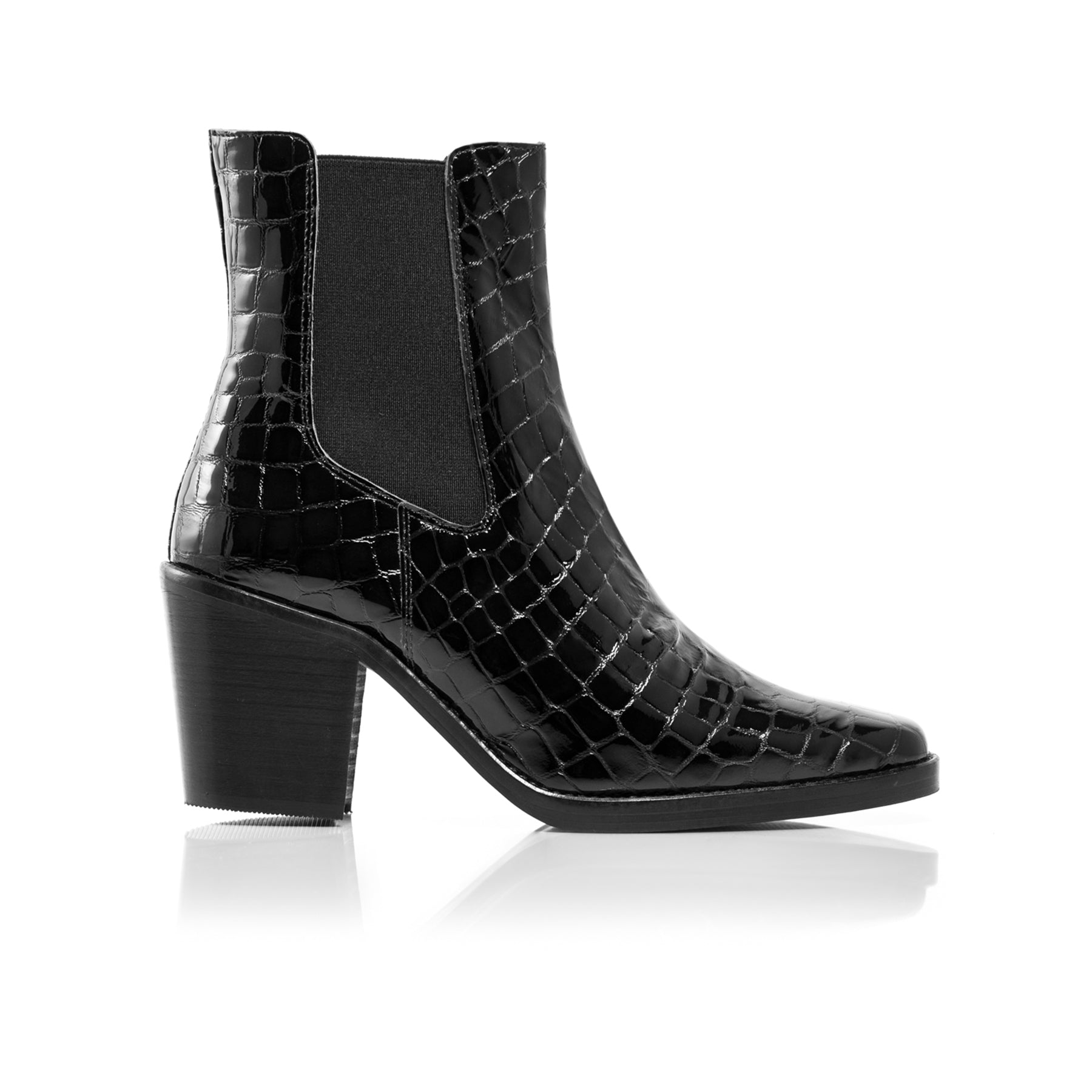 Kentucky Black Croco Ankle Boots