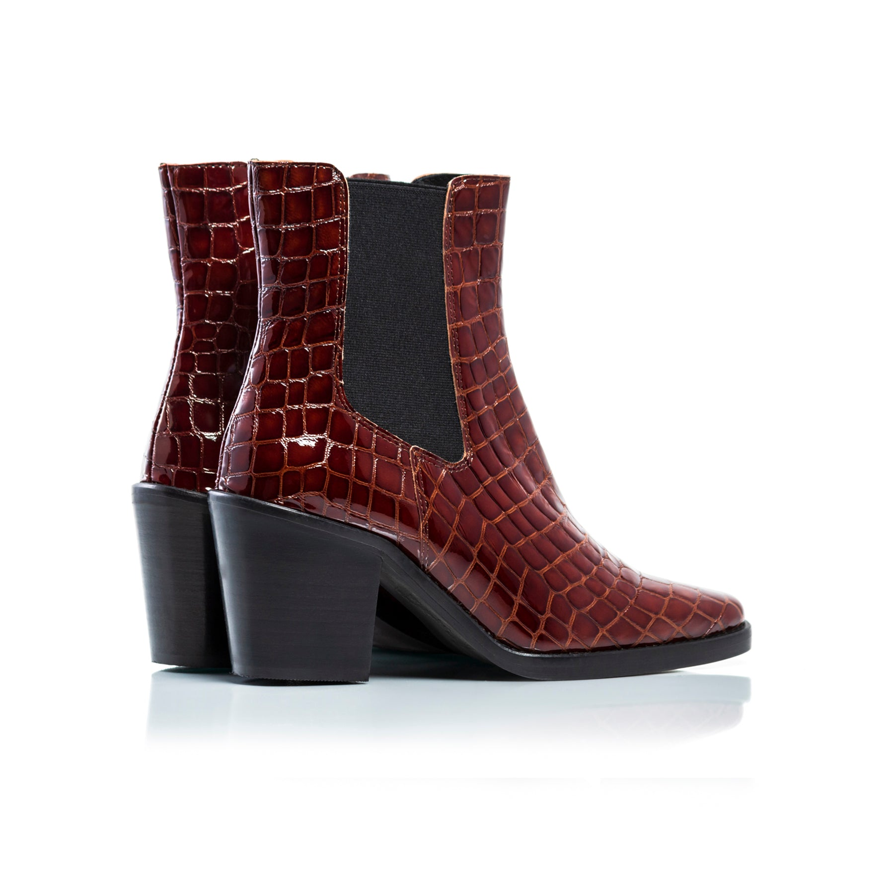 Kentucky Brown Croco Ankle Boots