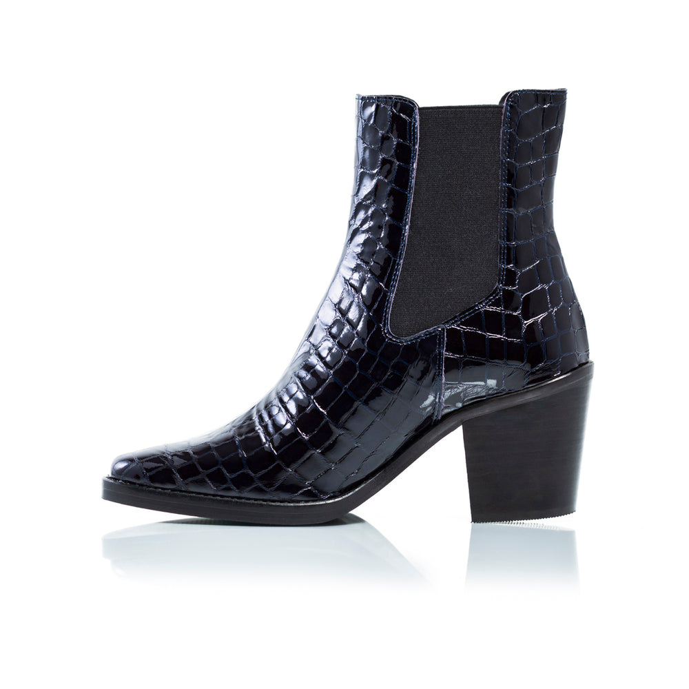 Kentucky Navy Croco Ankle Boots