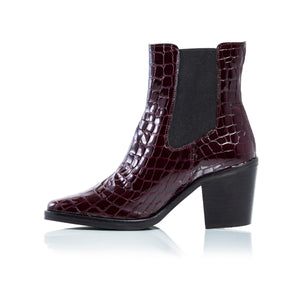 Load image into Gallery viewer, Kentucky Bordeau Croco Ankle Boots