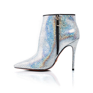 Load image into Gallery viewer, Lucia Holographic Snake Silver Ankle Boots