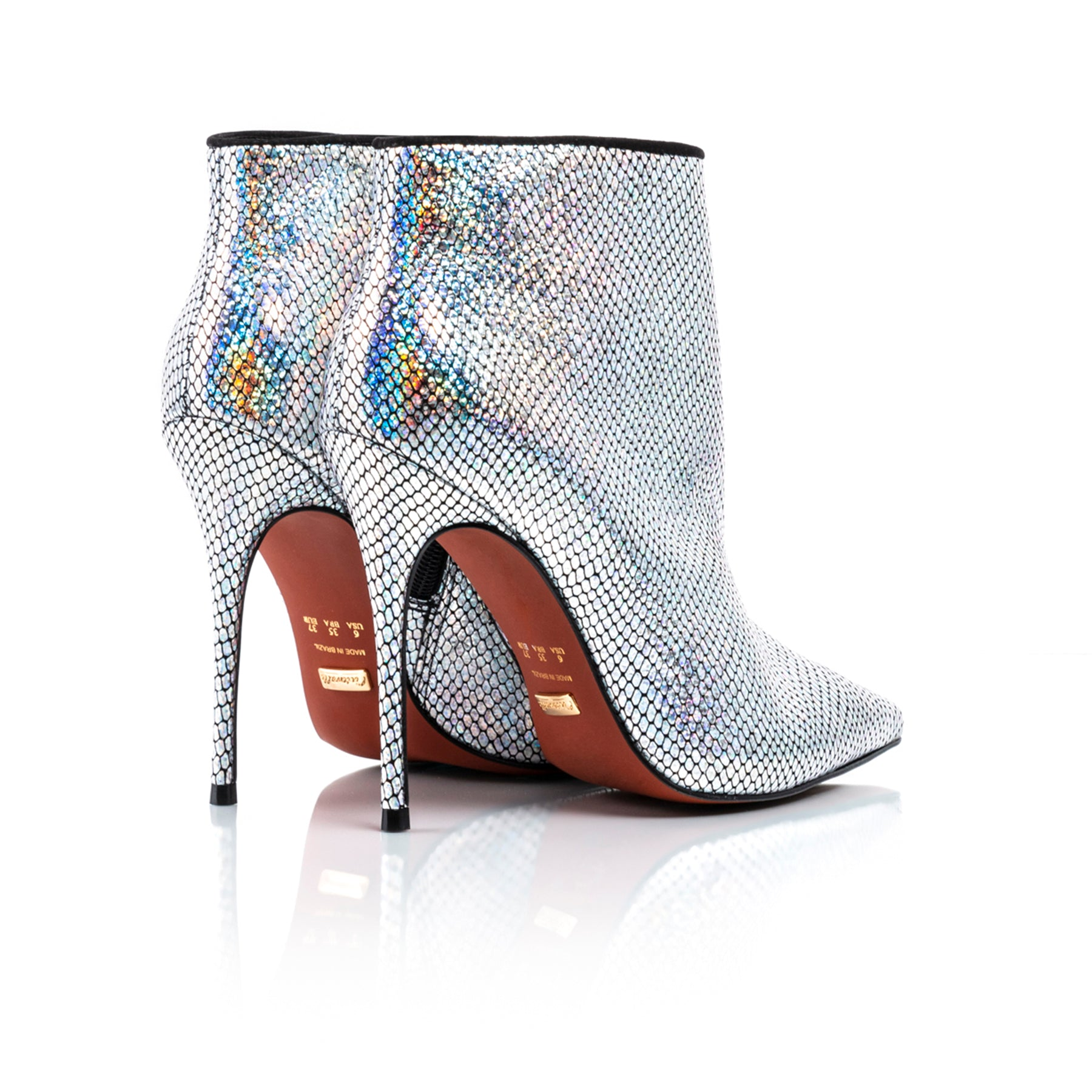 Lucia Holographic Snake Silver Ankle Boots