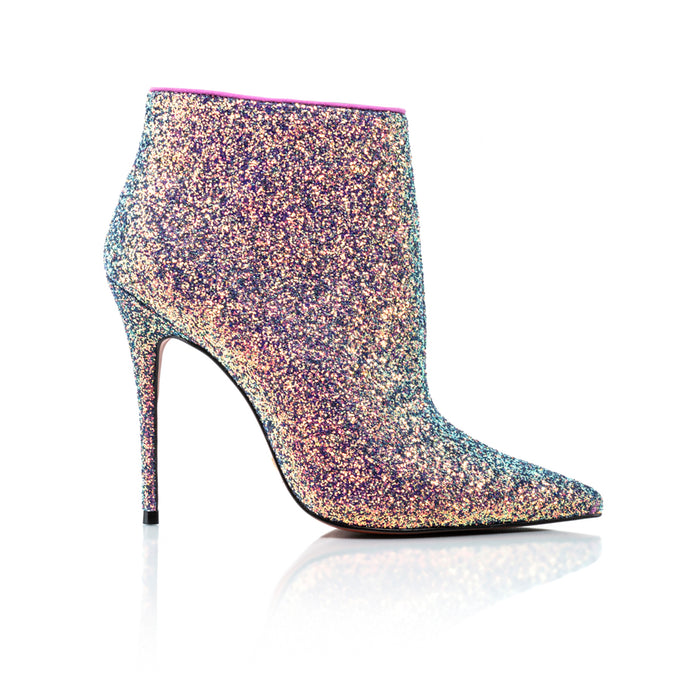 Lucia Pink Glitter Ankle Boots
