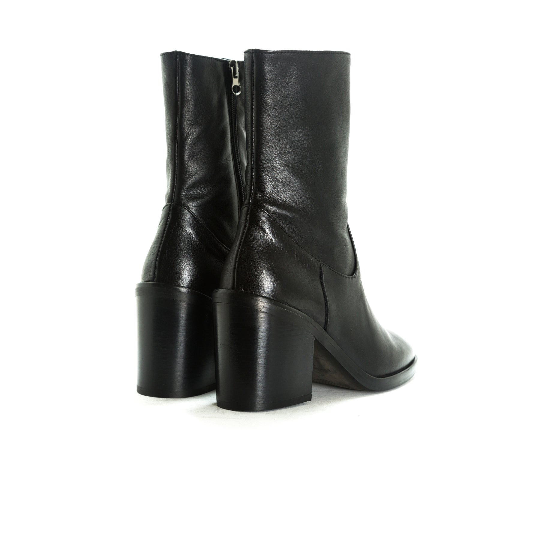 Maralik Black Leather Ankle Boots