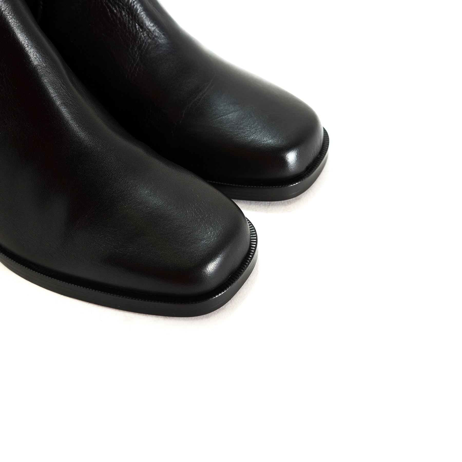 Marseille Black Leather Ankle Boots