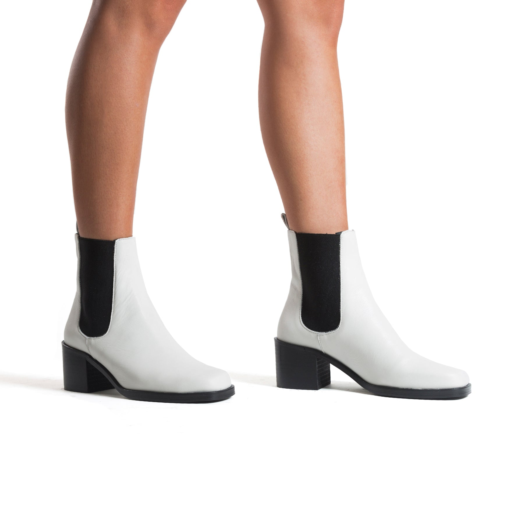 Marseille White Leather Ankle Boots