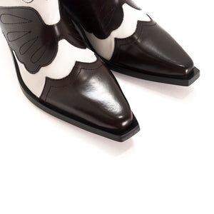 Maryland Bordo&White Leather Ankle Boots