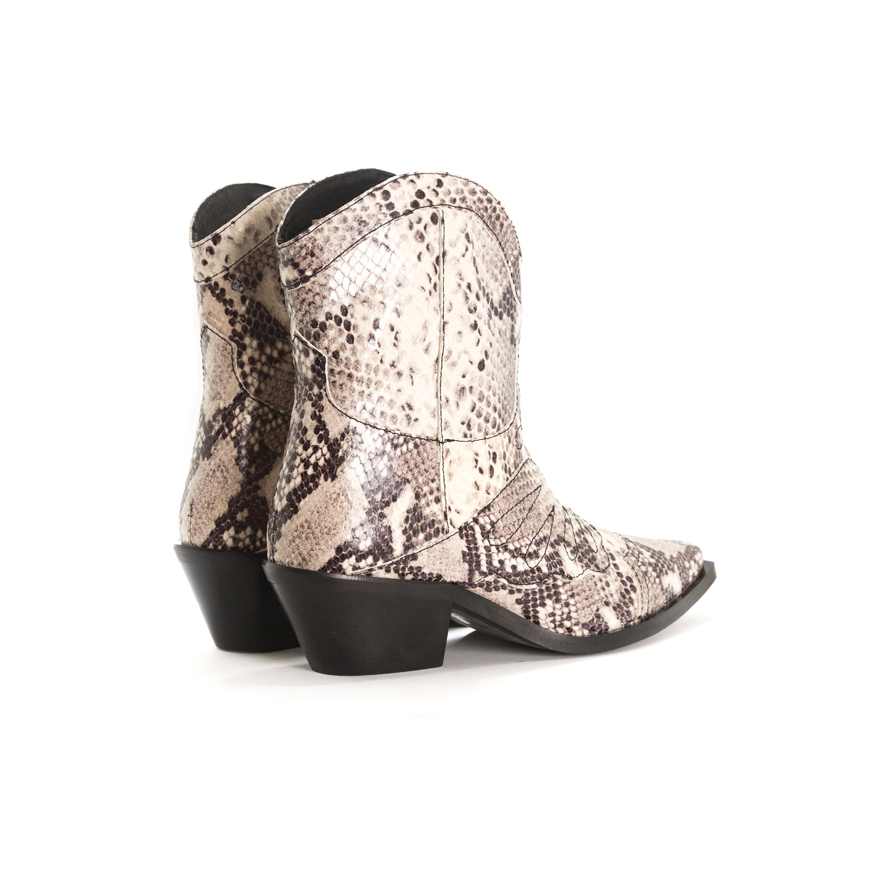 Maryland Nude Snake Leather Ankle Boots